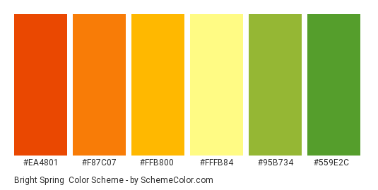 Bright Spring - Color scheme palette thumbnail - #ea4801 #f87c07 #ffb800 #fffb84 #95b734 #559e2c