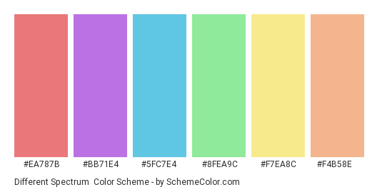 Different Spectrum - Color scheme palette thumbnail - #ea787b #bb71e4 #5fc7e4 #8fea9c #f7ea8c #f4b58e
