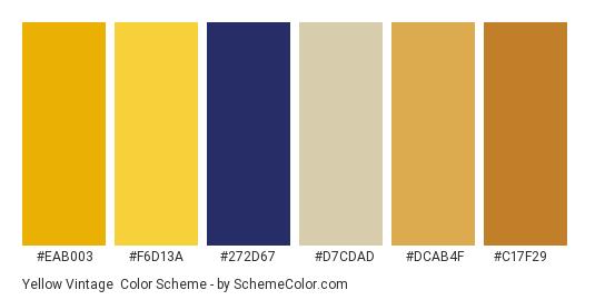 Yellow Vintage - Color scheme palette thumbnail - #eab003 #f6d13a #272d67 #d7cdad #dcab4f #c17f29
