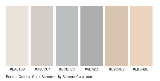 Ponder Quietly - Color scheme palette thumbnail - #eae1d8 #d3ccc4 #bcbfc0 #adadaf #d9c4b2 #ebd4be