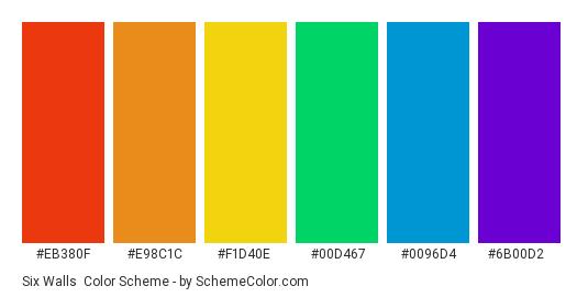 Six Walls - Color scheme palette thumbnail - #eb380f #e98c1c #f1d40e #00d467 #0096d4 #6b00d2