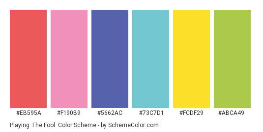 Playing the Fool - Color scheme palette thumbnail - #eb595a #f190b9 #5662ac #73c7d1 #fcdf29 #abca49