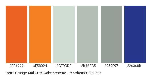Retro Orange and Grey - Color scheme palette thumbnail - #eb6222 #f58024 #cfddd2 #b3beb5 #959f97 #26368b