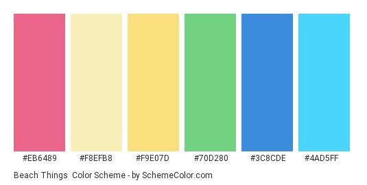 Beach Things - Color scheme palette thumbnail - #eb6489 #f8efb8 #f9e07d #70d280 #3c8cde #4ad5ff