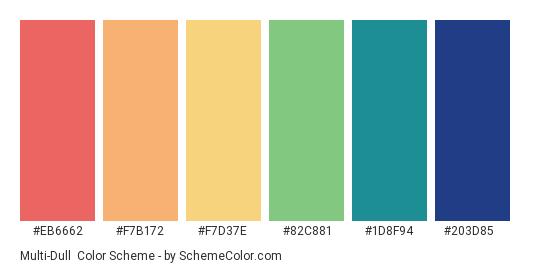 Multi-Dull - Color scheme palette thumbnail - #eb6662 #f7b172 #f7d37e #82c881 #1d8f94 #203d85