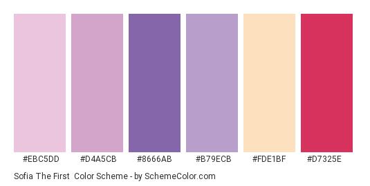 Sofia The First - Color scheme palette thumbnail - #ebc5dd #d4a5cb #8666ab #b79ecb #fde1bf #d7325e
