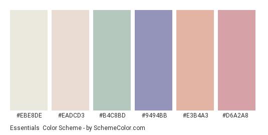 Essentials - Color scheme palette thumbnail - #ebe8de #eadcd3 #b4c8bd #9494bb #e3b4a3 #d6a2a8