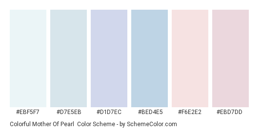 Colorful Mother of Pearl - Color scheme palette thumbnail - #ebf5f7 #d7e5eb #d1d7ec #bed4e5 #f6e2e2 #ebd7dd