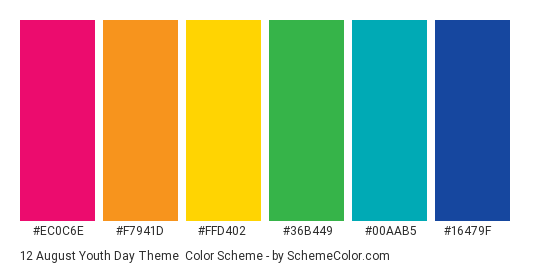 12 August Youth Day Theme - Color scheme palette thumbnail - #ec0c6e #f7941d #ffd402 #36b449 #00aab5 #16479f