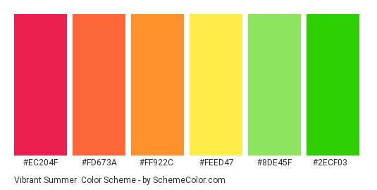 Vibrant Summer - Color scheme palette thumbnail - #ec204f #fd673a #ff922c #feed47 #8de45f #2ecf03