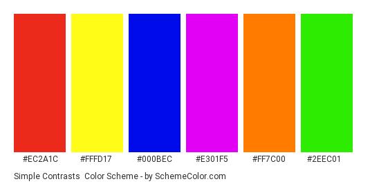 Simple Contrasts - Color scheme palette thumbnail - #ec2a1c #fffd17 #000bec #e301f5 #ff7c00 #2eec01
