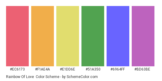 Rainbow of Love - Color scheme palette thumbnail - #ec6173 #f1ae4a #e1dd6e #51a350 #6964ff #bd63be