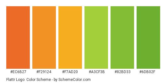 Flattr Logo - Color scheme palette thumbnail - #ec6b27 #f29124 #f7ad20 #a3cf3b #82bd33 #6db02f