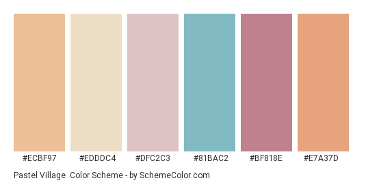 Pastel Village - Color scheme palette thumbnail - #ecbf97 #edddc4 #dfc2c3 #81bac2 #bf818e #e7a37d