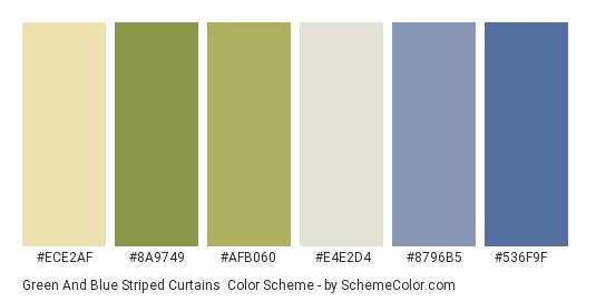 Green and Blue Striped Curtains - Color scheme palette thumbnail - #ece2af #8a9749 #afb060 #e4e2d4 #8796b5 #536f9f