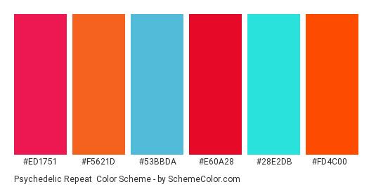 Psychedelic Repeat - Color scheme palette thumbnail - #ed1751 #f5621d #53bbda #e60a28 #28e2db #fd4c00