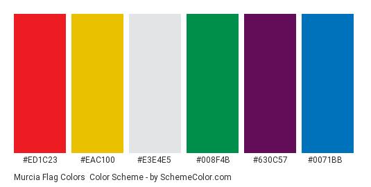 Murcia Flag Colors - Color scheme palette thumbnail - #ed1c23 #eac100 #e3e4e5 #008f4b #630c57 #0071bb