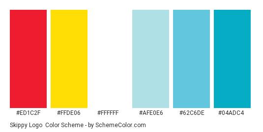 Skippy Logo - Color scheme palette thumbnail - #ed1c2f #ffde06 #ffffff #afe0e6 #62c6de #04adc4