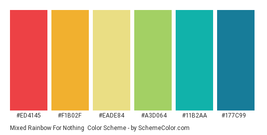 Mixed Rainbow for Nothing - Color scheme palette thumbnail - #ed4145 #f1b02f #eade84 #a3d064 #11b2aa #177c99