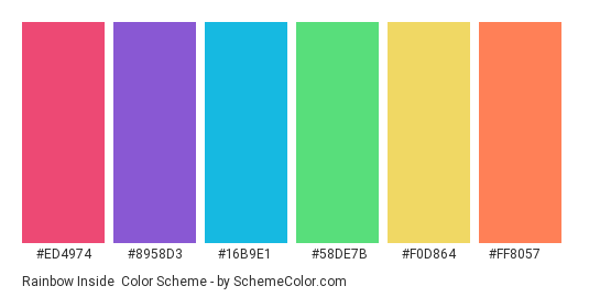 Rainbow Inside - Color scheme palette thumbnail - #ed4974 #8958d3 #16b9e1 #58de7b #f0d864 #ff8057