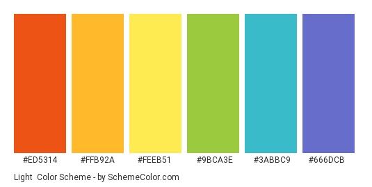 Light - Color scheme palette thumbnail - #ed5314 #ffb92a #feeb51 #9bca3e #3abbc9 #666DCB