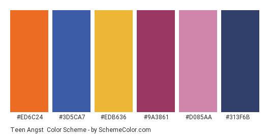 Teen Angst - Color scheme palette thumbnail - #ed6c24 #3d5ca7 #edb636 #9a3861 #d085aa #313f6b