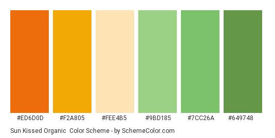 Sun Kissed Organic - Color scheme palette thumbnail - #ed6d0d #f2a805 #fee4b5 #9bd185 #7cc26a #649748