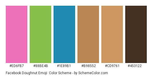 Facebook Doughnut Emoji - Color scheme palette thumbnail - #ed6fb7 #88be4b #1e89b1 #b98552 #cd9761 #453122
