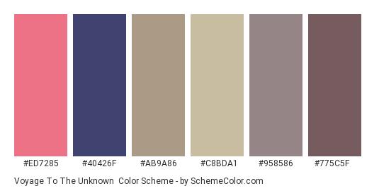 Voyage to the Unknown - Color scheme palette thumbnail - #ed7285 #40426f #ab9a86 #c8bda1 #958586 #775c5f
