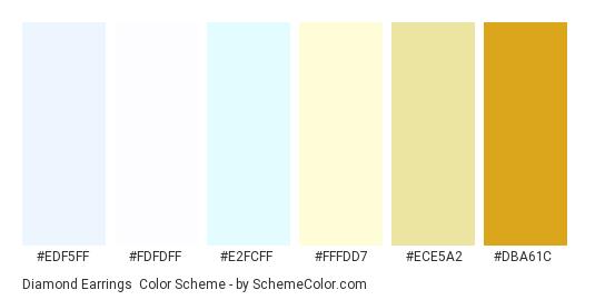 Diamond Earrings - Color scheme palette thumbnail - #edf5ff #fdfdff #e2fcff #fffdd7 #ece5a2 #dba61c
