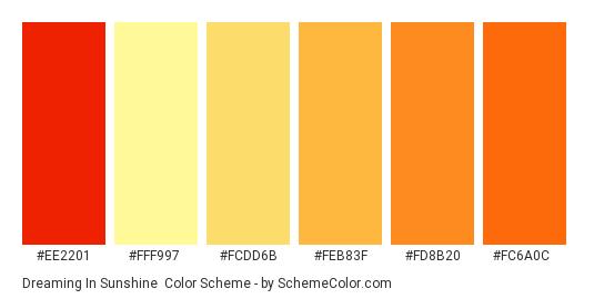 Dreaming In Sunshine - Color scheme palette thumbnail - #ee2201 #fff997 #fcdd6b #feb83f #fd8b20 #fc6a0c