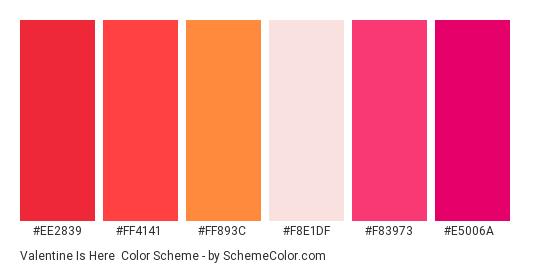 Valentine is Here - Color scheme palette thumbnail - #ee2839 #ff4141 #ff893c #f8e1df #f83973 #e5006a