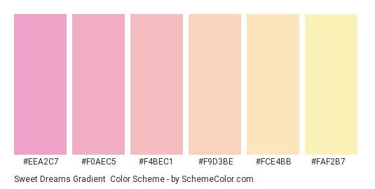 Sweet Dreams Gradient - Color scheme palette thumbnail - #eea2c7 #f0aec5 #f4bec1 #f9d3be #fce4bb #faf2b7