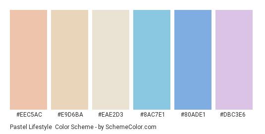 Pastel Lifestyle - Color scheme palette thumbnail - #eec5ac #e9d6ba #eae2d3 #8ac7e1 #80ade1 #dbc3e6