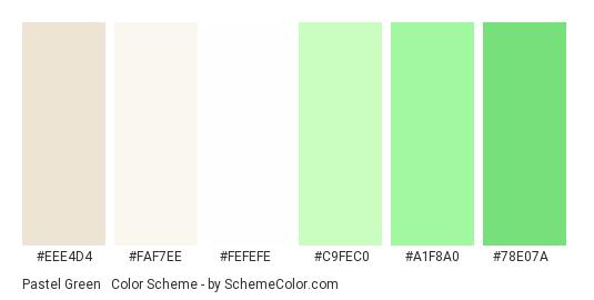 Pastel Green & White - Color scheme palette thumbnail - #eee4d4 #faf7ee #fefefe #c9fec0 #a1f8a0 #78e07a