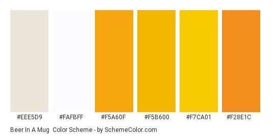 Beer in a Mug - Color scheme palette thumbnail - #eee5d9 #fafbff #f5a60f #f5b600 #f7ca01 #F28E1C