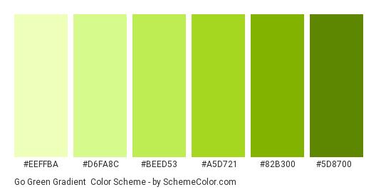 Go Green Gradient - Color scheme palette thumbnail - #eeffba #d6fa8c #beed53 #a5d721 #82b300 #5d8700