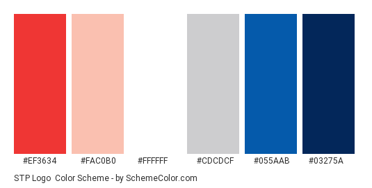 STP Logo - Color scheme palette thumbnail - #ef3634 #fac0b0 #ffffff #cdcdcf #055aab #03275a