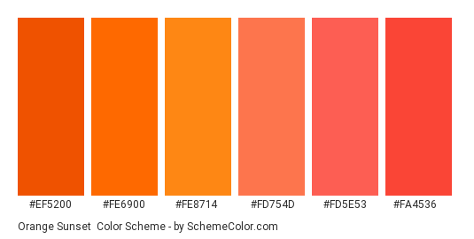 Orange Sunset - Color scheme palette thumbnail - #ef5200 #fe6900 #fe8714 #fd754d #fd5e53 #fa4536