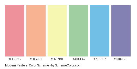 Modern Pastels - Color scheme palette thumbnail - #ef919b #f8b392 #f6f7b0 #a0cfa2 #71bee7 #8380b3