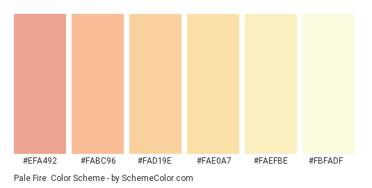 Pale Fire - Color scheme palette thumbnail - #efa492 #fabc96 #fad19e #fae0a7 #faefbe #fbfadf