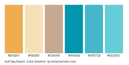 Dull Sea Beach - Color scheme palette thumbnail - #efad51 #f5e0b7 #c6a990 #0096ae #47b7cb #65cdd5