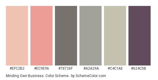 Minding Own Business - Color scheme palette thumbnail - #efc2b2 #ec9e96 #78726f #a2a29a #c4c1ae #624c5b