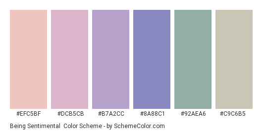 Being Sentimental - Color scheme palette thumbnail - #efc5bf #dcb5cb #b7a2cc #8a88c1 #92aea6 #c9c6b5
