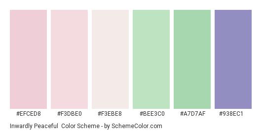 Inwardly Peaceful - Color scheme palette thumbnail - #efced8 #f3dbe0 #f3ebe8 #bee3c0 #a7d7af #938ec1