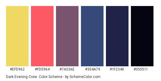 Dark Evening Crew - Color scheme palette thumbnail - #efd962 #fd5964 #7a536e #354a79 #1f2348 #050511