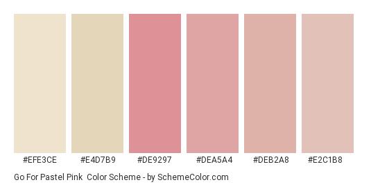 Go For Pastel Pink - Color scheme palette thumbnail - #efe3ce #e4d7b9 #de9297 #dea5a4 #deb2a8 #e2c1b8