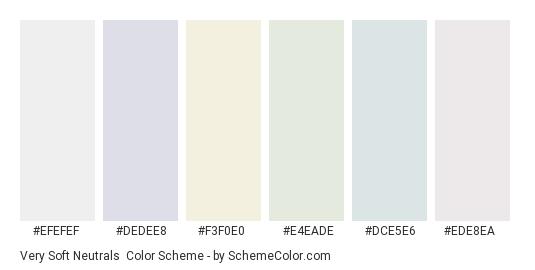 Very Soft Neutrals - Color scheme palette thumbnail - #efefef #dedee8 #f3f0e0 #e4eade #dce5e6 #ede8ea