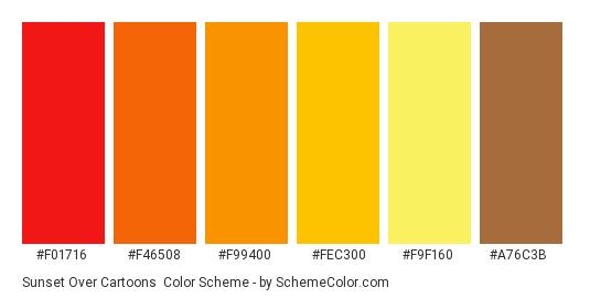 Sunset Over Cartoons - Color scheme palette thumbnail - #f01716 #f46508 #f99400 #fec300 #f9f160 #a76c3b