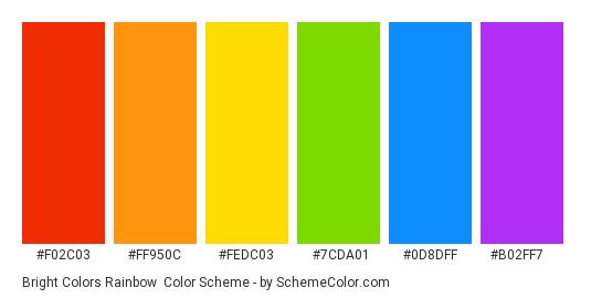 Bright Colors Rainbow - Color scheme palette thumbnail - #f02c03 #ff950c #fedc03 #7cda01 #0d8dff #b02ff7